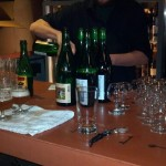 Cantillon bottles poured at the bar.